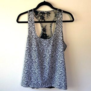 Mimi Chica Leopard and Lace Racerback Tank - M